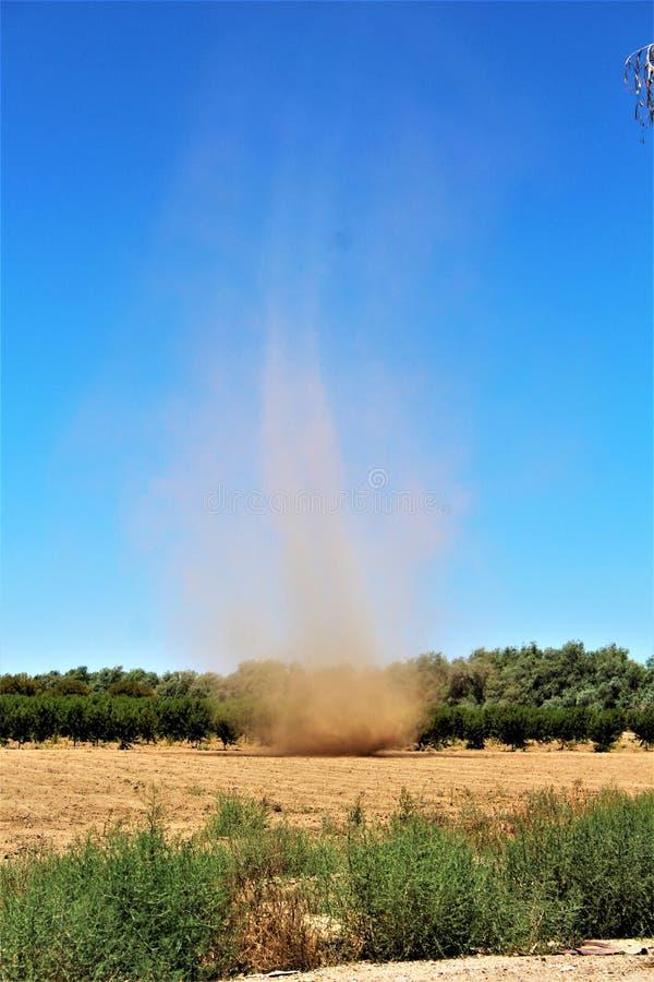 领域的沙尘暴,亚利桑那州,美国 库存照片