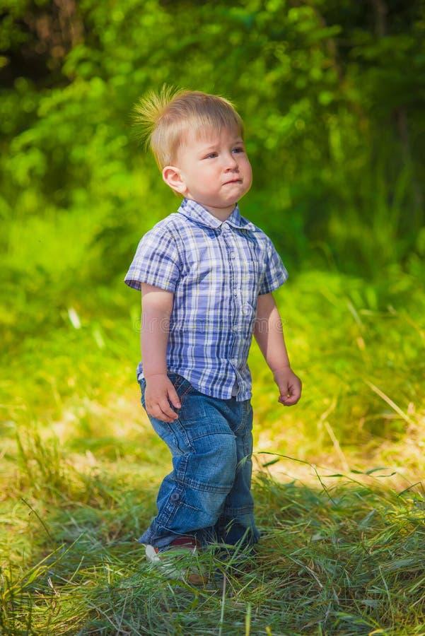领域的男婴 免版税图库摄影