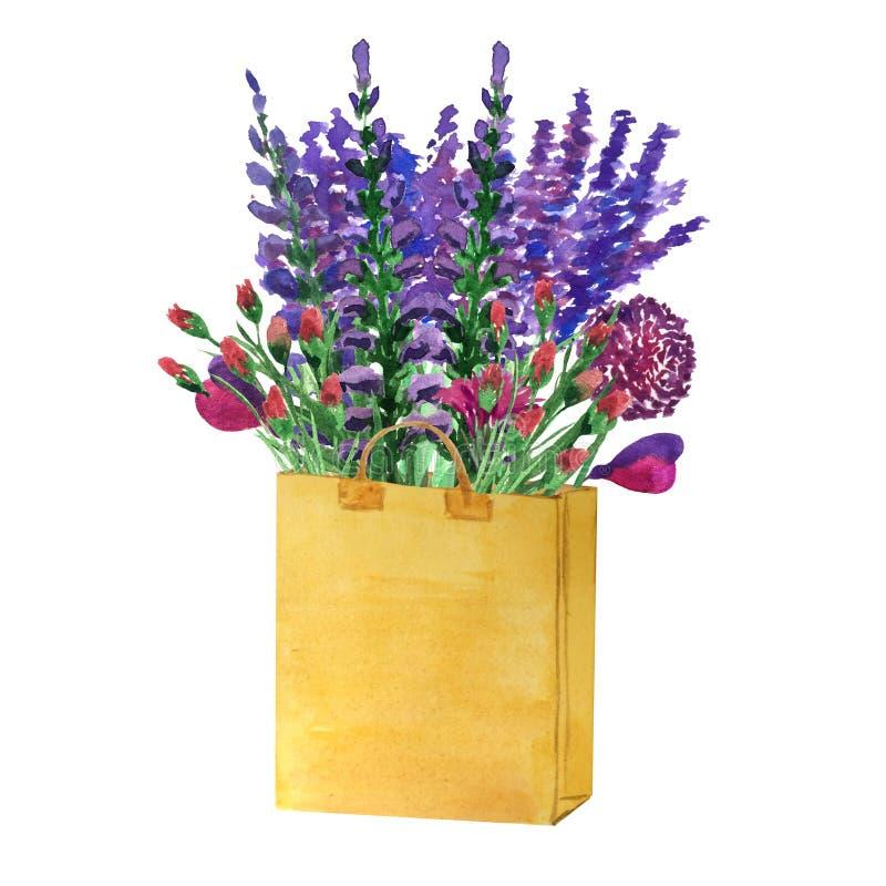 领域芬芳花水彩花束-淡紫色,葱属,草本 向量例证