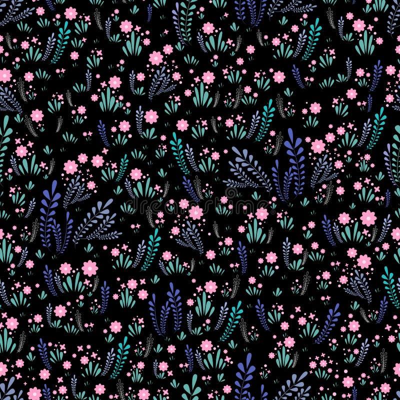 领域野花无缝的花卉样式 明亮,装饰花和植物一片叶子的在黑背景 花卉 向量例证