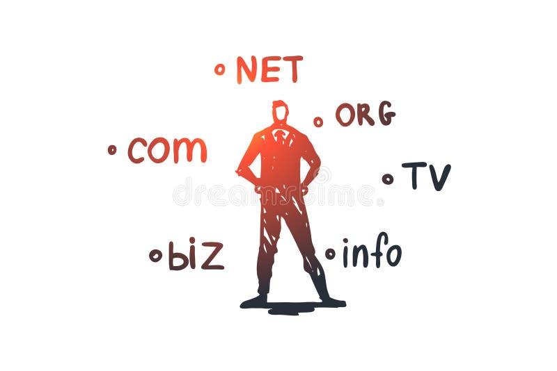 领域,互联网,名字,网,主持概念 手拉的被隔绝的传染媒介 库存例证