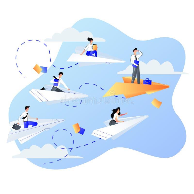 领导、事业和成功企业概念 商人在纸飞机的人飞行 o 向量例证