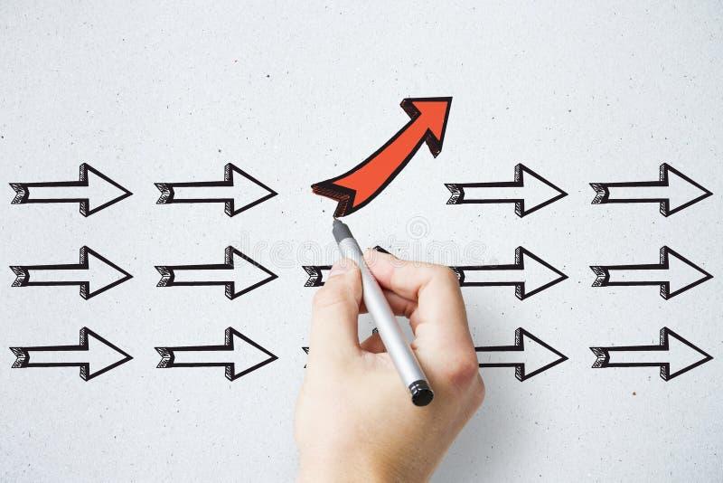 领导、另外方向和选择概念 库存图片