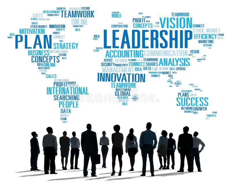 领导上司管理教练首要全球性概念 库存例证