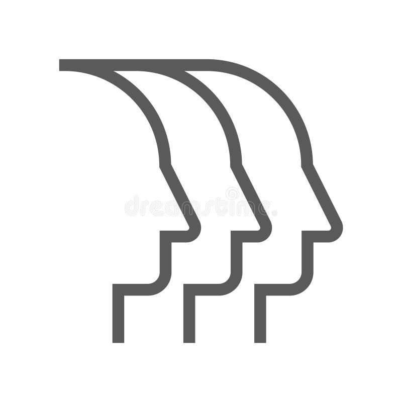 领导和公司管理传染媒介平的线象 队项目 编辑可能的冲程 48x48完善的映象点 向量例证