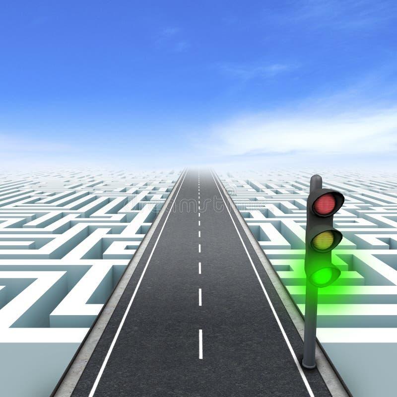 领导和商业。 在红绿灯的绿色 向量例证