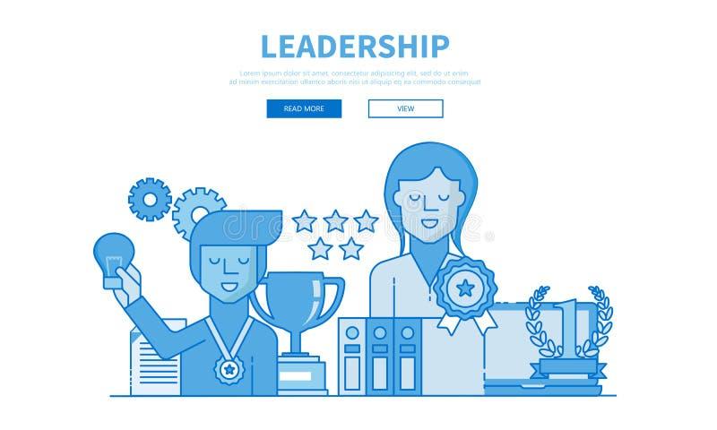 领导和配合的现代平的设计例证 对机动性或网站 平的传染媒介 向量例证