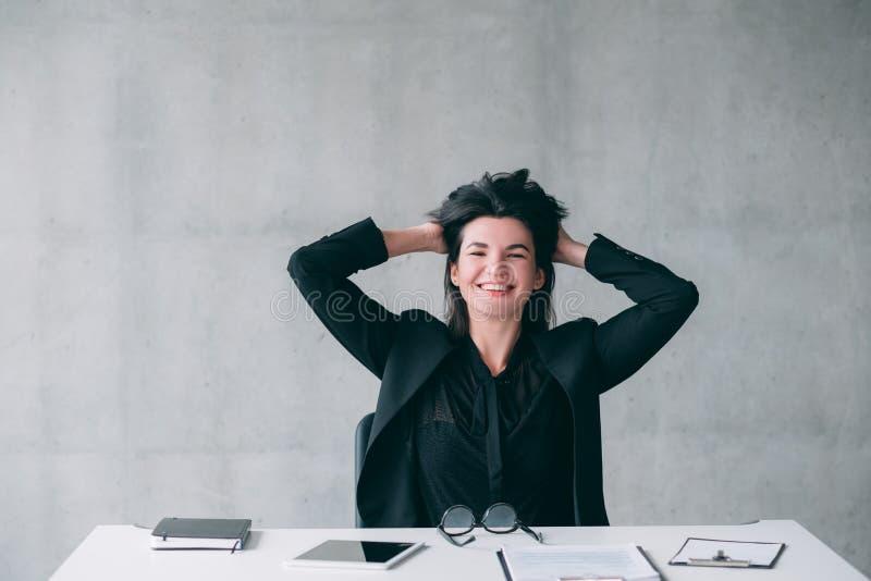 领导成功愉快的优等的女商人 免版税库存照片