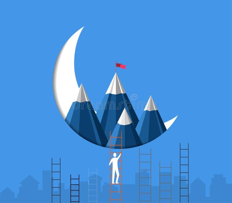 领导成功概念,商人上升的台阶赛跑达到与一面旗子的山在上面 库存例证