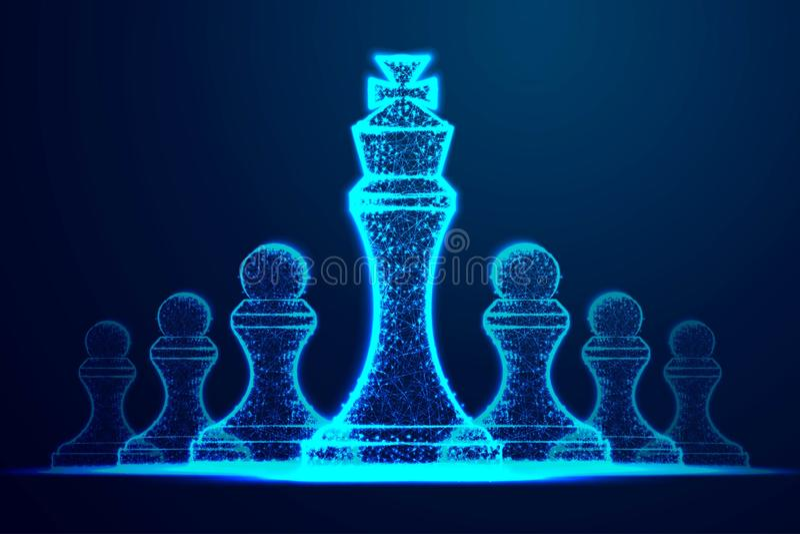 领导成功概念 女王/王后作为领导的标志的棋形象 成功的挑战 抽象wireframe设计 ? 向量例证