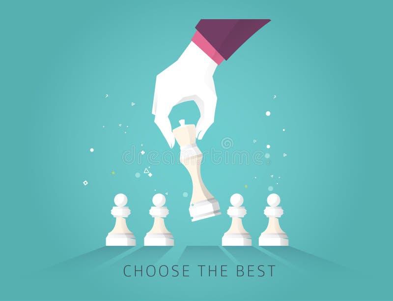 领导手选择最佳的战略方式移动棋 皇族释放例证