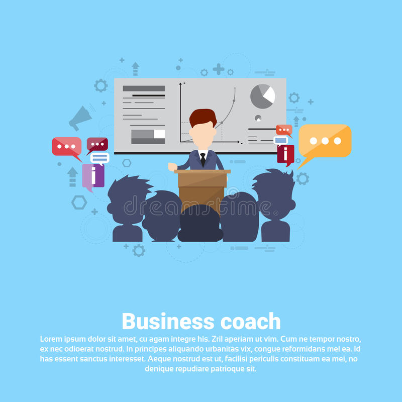 领导教练的管理企业网横幅 皇族释放例证