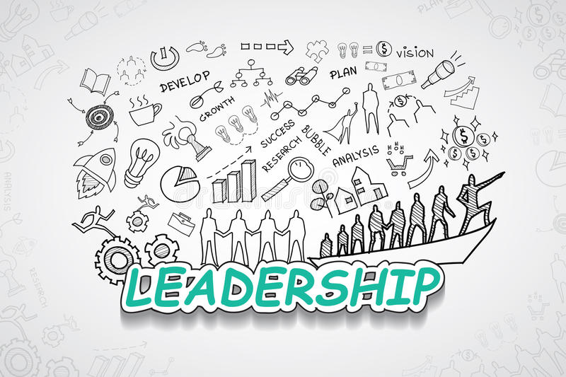 领导文本,有创造性的图画图和图表企业成功战略计划想法,启发概念现代设计te 库存例证