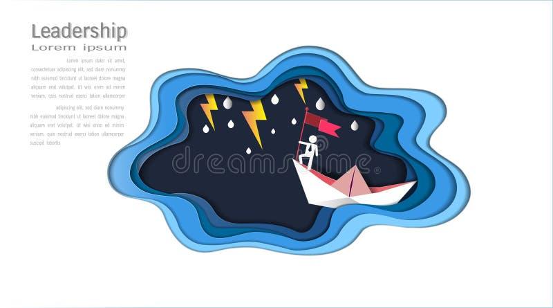 领导概念、商人在顶面举行的旗子与小船反对疯狂的海和雷电在风暴,成功的标志 皇族释放例证