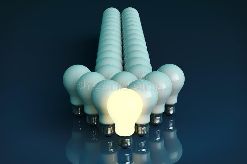 领导概念。站立在前面的一个发光的电灯泡 皇族释放例证