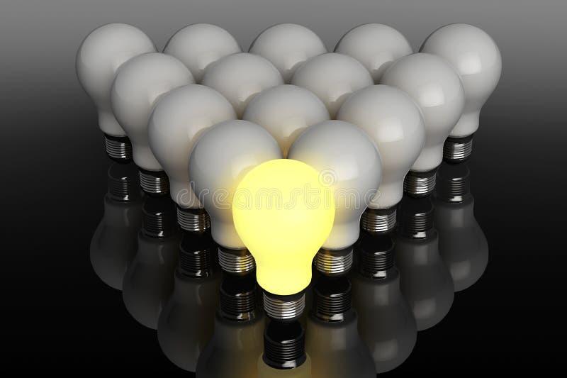 领导概念。站立在前面的一个发光的电灯泡 向量例证