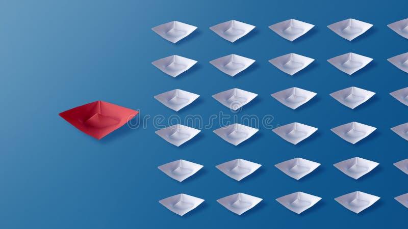 领导概念,红色Origami纸小船带领的小组白色小船 免版税图库摄影