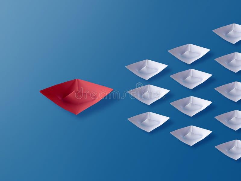 领导概念,红色Origami纸小船带领的小组白色小船 免版税库存照片