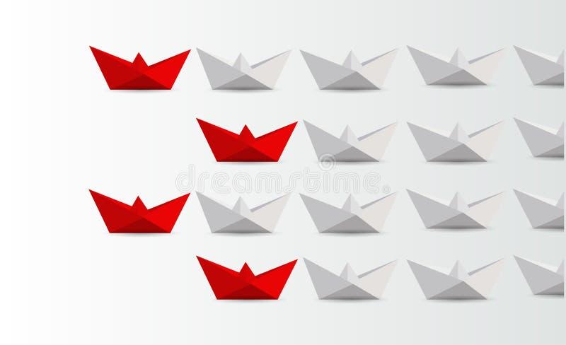领导概念 带领白色的红色纸小船 库存例证