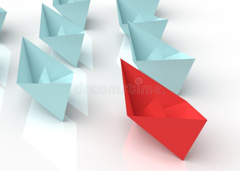 领导概念 3d纸小船 库存例证