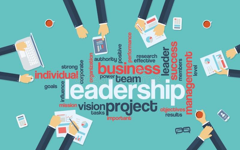 领导概念infographics 词云彩与 库存例证