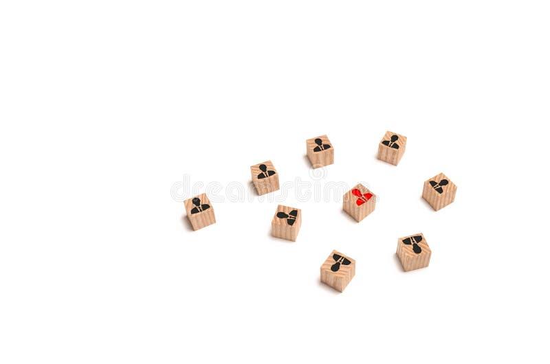 领导的一个概念性图象在他附近会集雇员和商务伙伴 吸引顾客和会集队 免版税库存图片