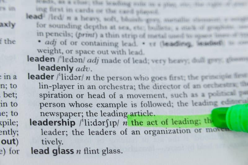 领导的被突出的定义在字典的 库存照片