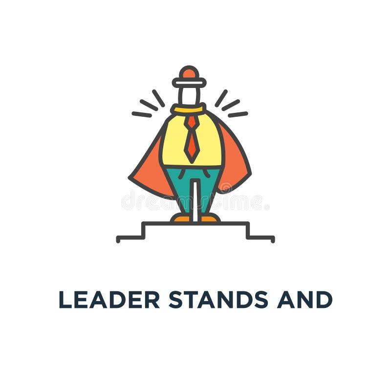 领导立场和调查距离象、领导的商人漂浮对岸的,事务和配合,逗人喜爱, 向量例证