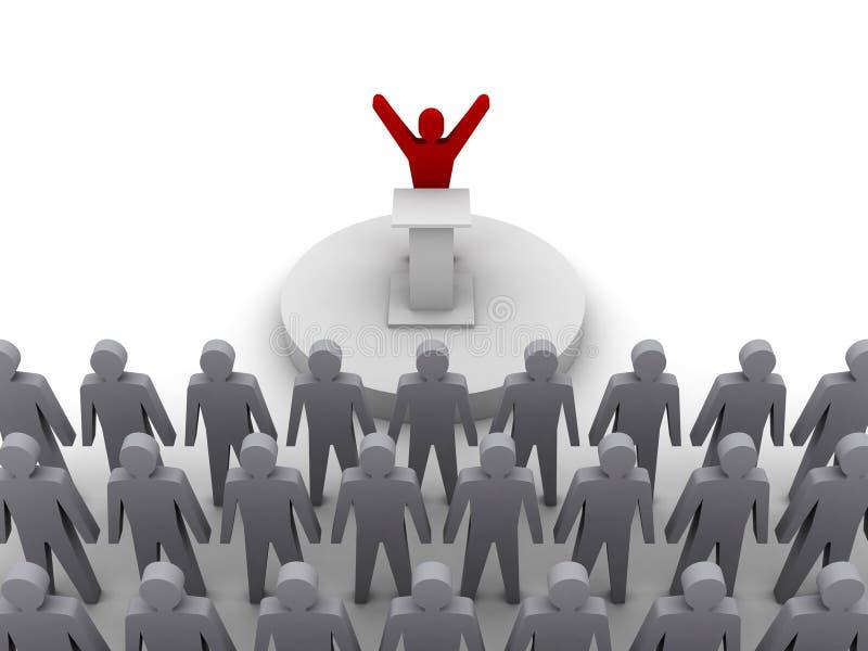 领导谈话与人群。 向量例证
