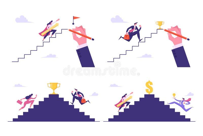 领导,成功,挑战集合,商人跑冠上梯子采取奖,上升的买卖人在楼上 皇族释放例证