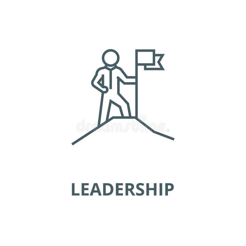 领导,有旗子的人在登上传染媒介线象,线性概念,概述标志,标志 库存例证