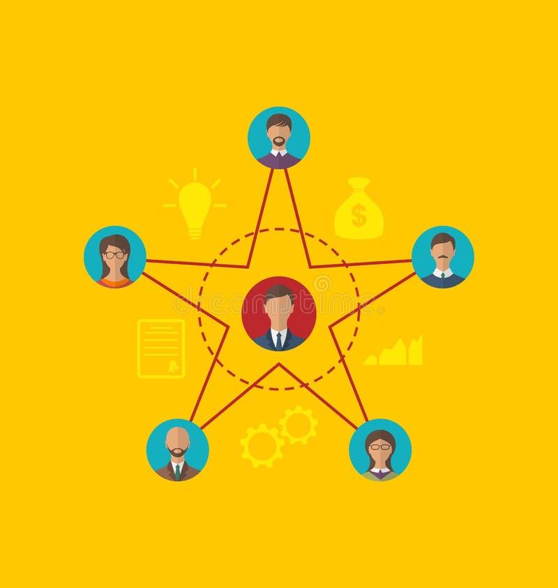 领导,社区商人的概念 平的样式ico 皇族释放例证