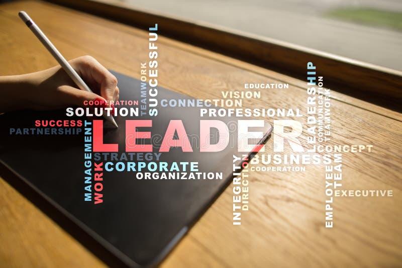 领导 领导 Teambuilding 到达天空的企业概念金黄回归键所有权 词云彩 库存照片