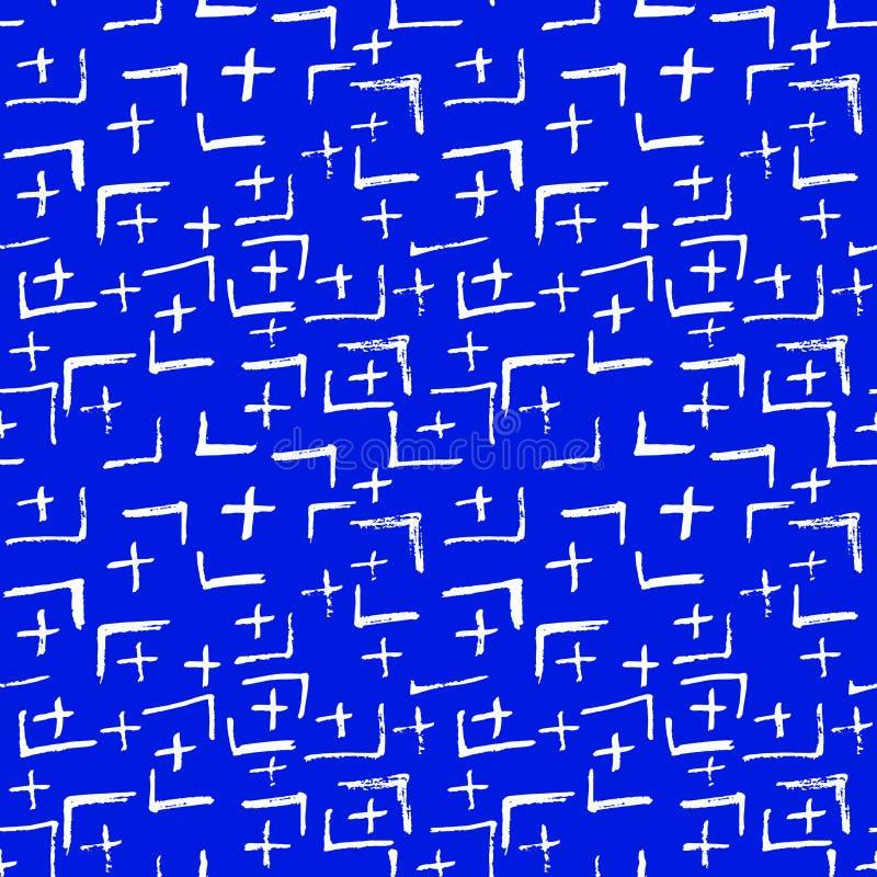 领带染料日本几何有机无缝的样式 Boho领带染料亚洲蜡染布 杂文动画片乱画工艺和服纹理 向量例证