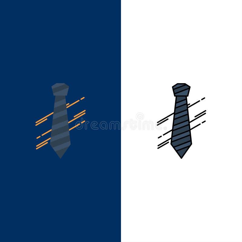 领带,事务,礼服,时尚,采访象 舱内甲板和线被填装的象设置了传染媒介蓝色背景 向量例证