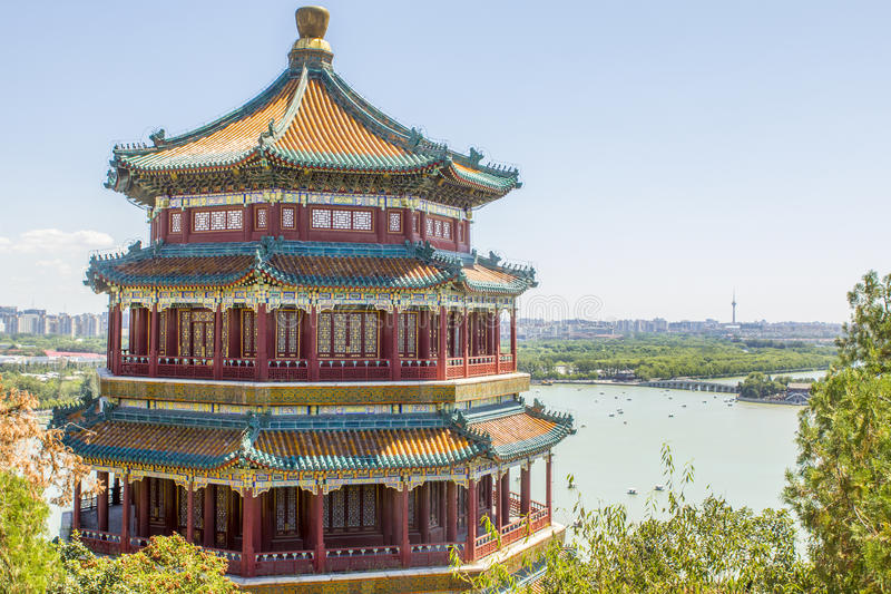 颐和园塔北京中国 免版税库存照片