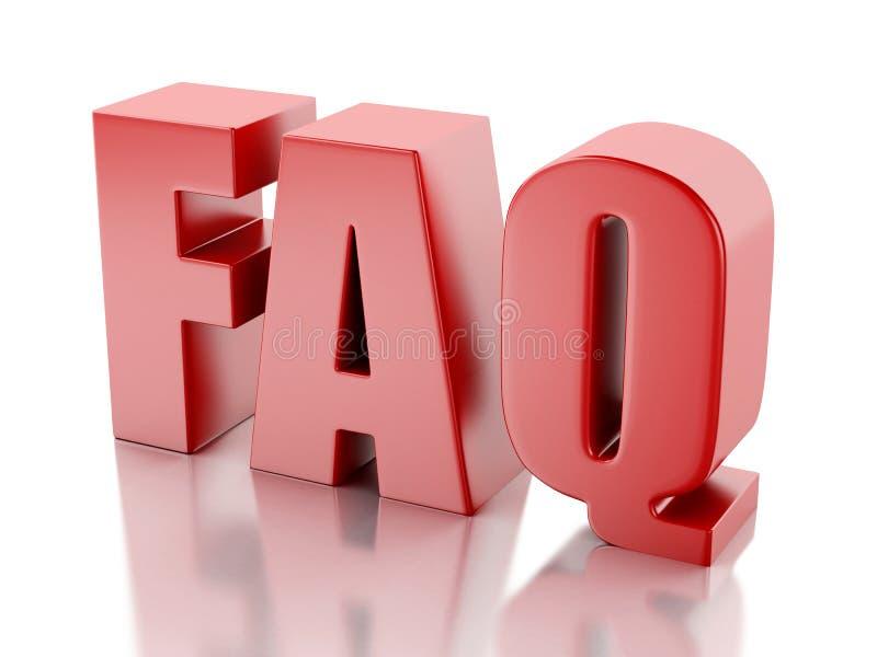 频繁地被问的问题 常见问题解答概念 3d例证 库存例证