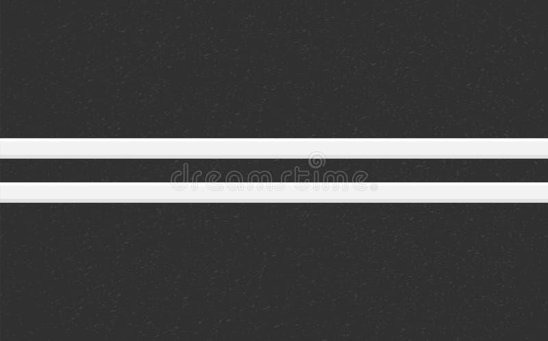颗粒状沥青结构  与沥青纹理的路背景 涂柏油与两空白线路路标的纹理 皇族释放例证