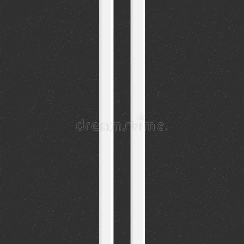 颗粒状沥青结构  与沥青纹理的路背景 涂柏油与两空白线路路标的纹理 向量例证