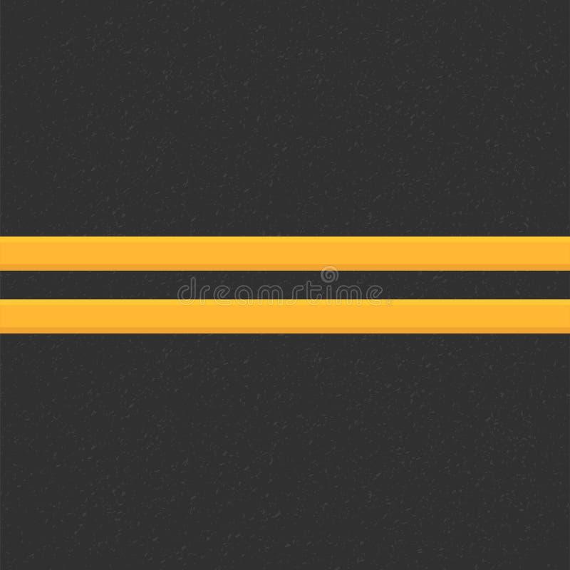 颗粒状沥青结构  与沥青纹理的路背景 涂柏油与两黄线路标的纹理 皇族释放例证