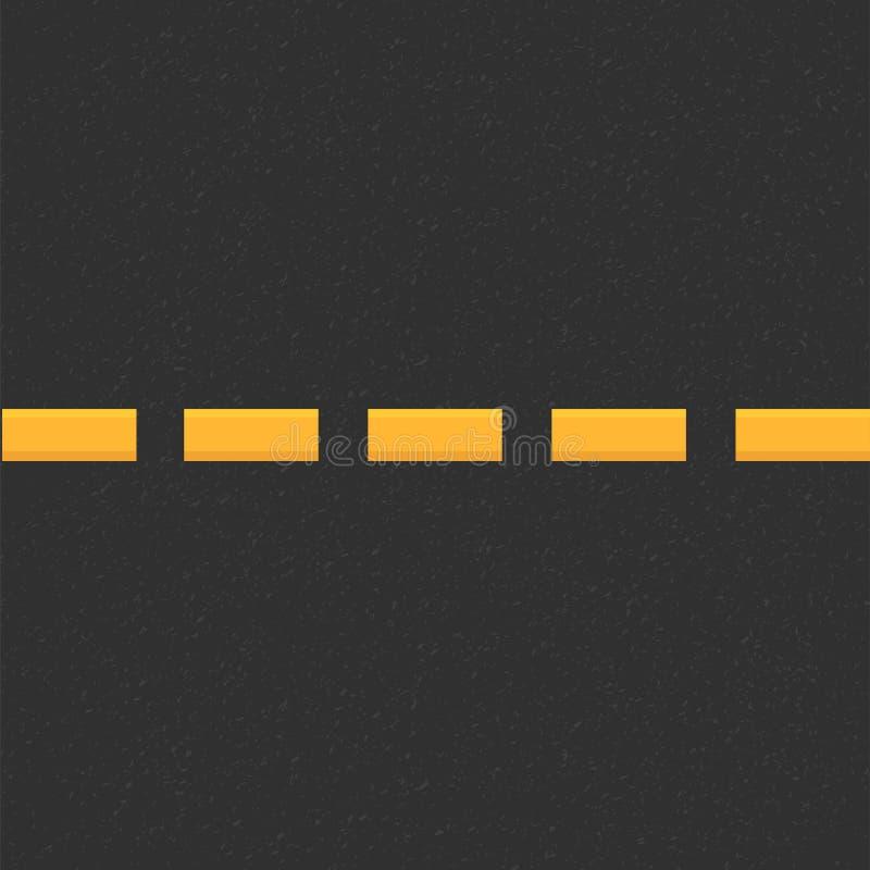 颗粒状沥青结构  与沥青纹理的路背景 涂柏油与两黄线路标的纹理 向量例证
