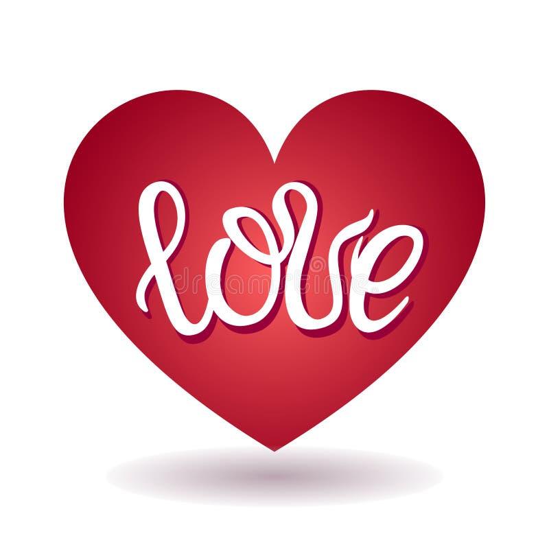 题字'爱'在红心里面 手字法 传染媒介华伦泰` s卡片 皇族释放例证