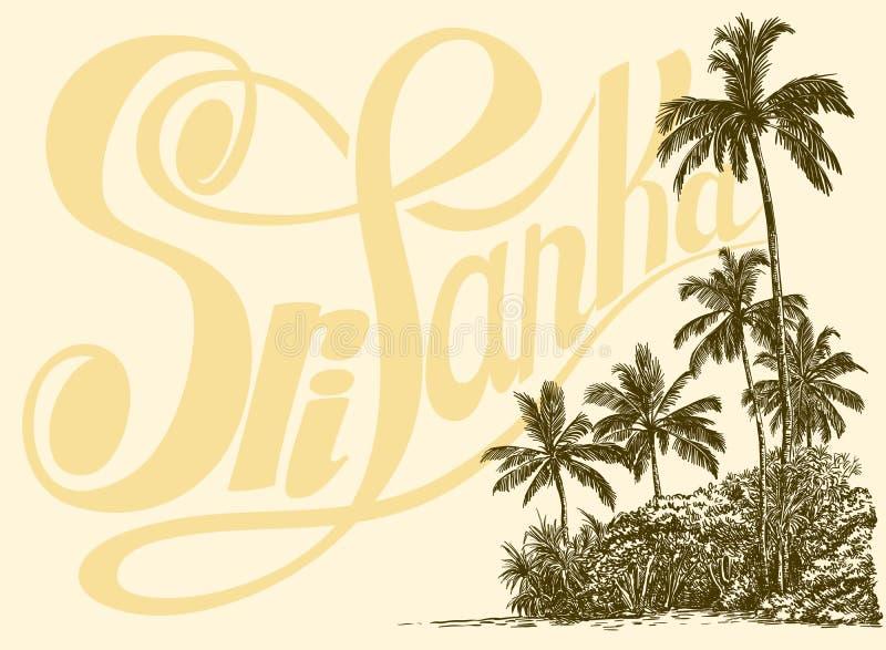 题字、棕榈树和热带丛林在沙子 皇族释放例证