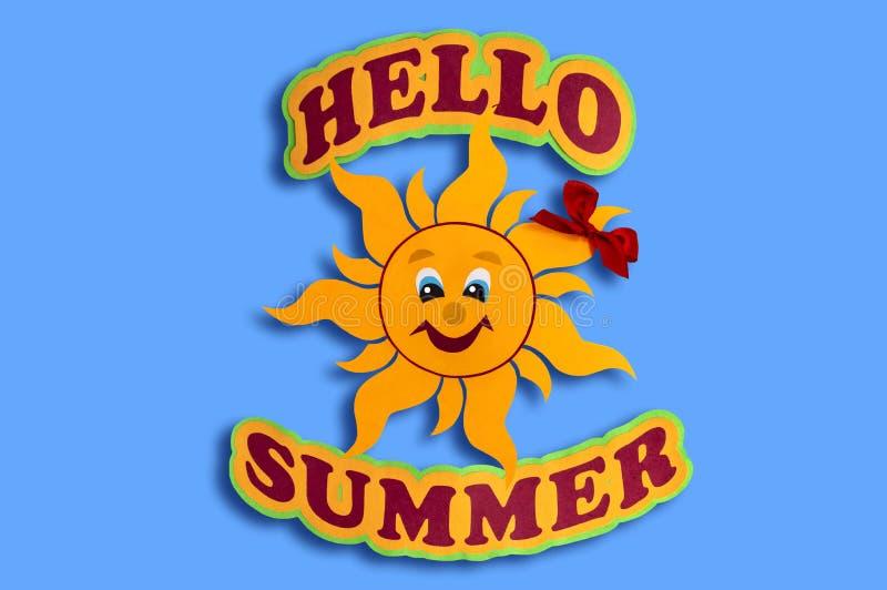 题字你好纸夏天和太阳  免版税库存照片
