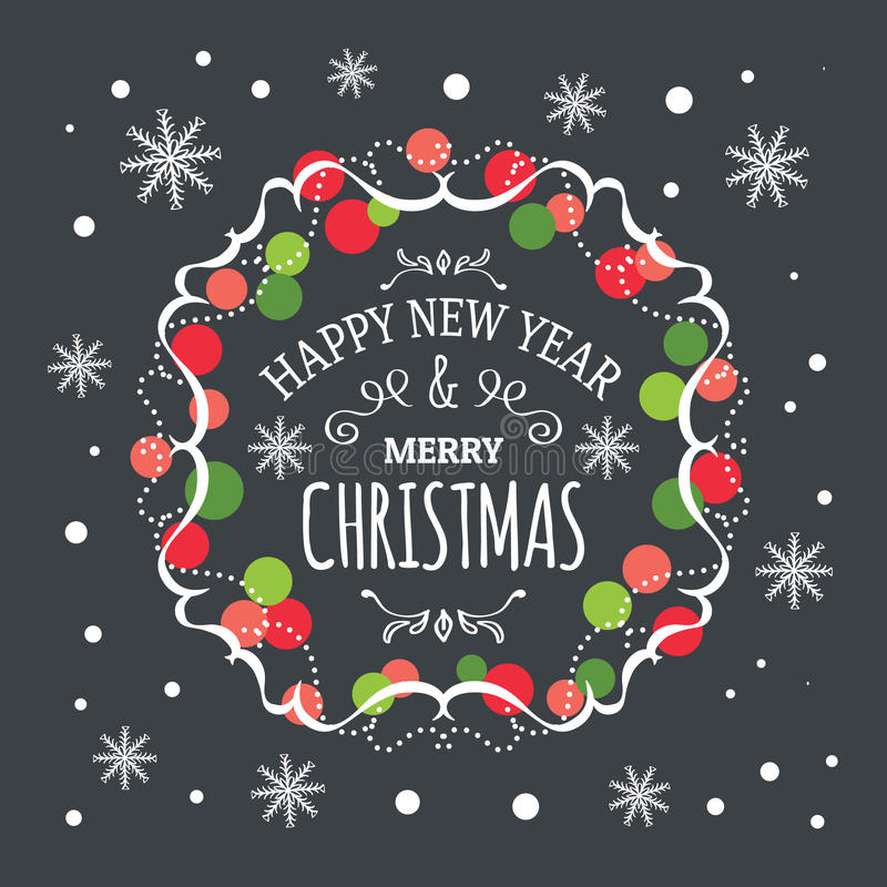 题字新年快乐和圣诞快乐 库存例证