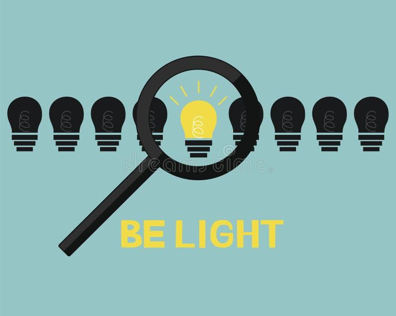题字是光,连续站立与黑暗的灯和发光 库存例证