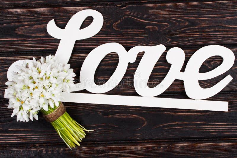题字爱和snowdrop在木头 免版税库存照片