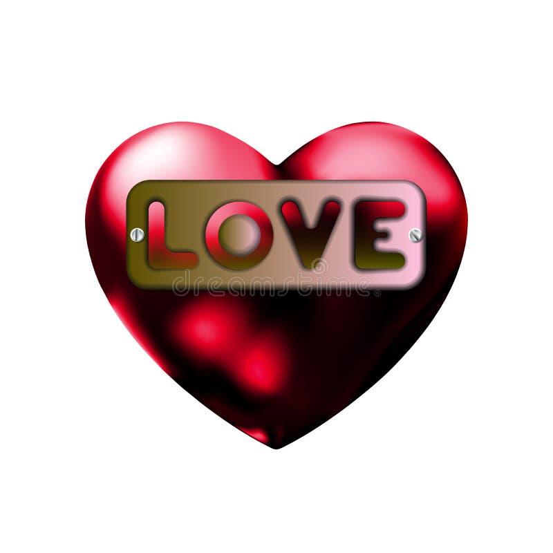 题字爱,在心脏,板材象 标志情人节标志,象征 图表的样式和网络设计,金属标签与 皇族释放例证