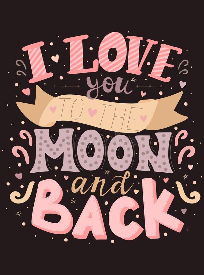 题字的传染媒介图象我爱你对月亮和在黑暗的背景 彩色插图为情人节,fo 向量例证