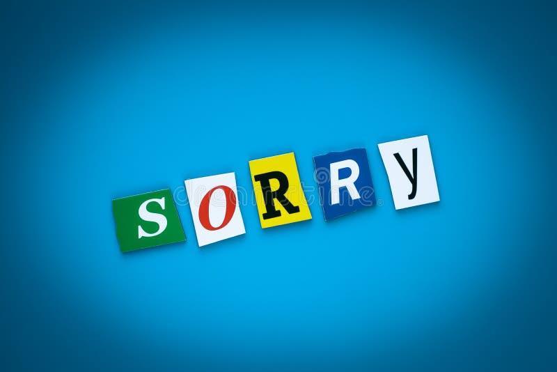 题字,文本-抱歉在从色的信件的蓝色背景 饶恕概念 标题,卡片,横幅 说明,标题 向量例证